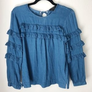J. Crew Chambray Ruffled Tiered Blouse - size 2